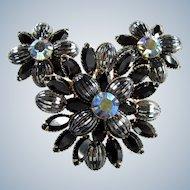 Vintage JUDY LEE RHINESTONE Pin & Earrings Black Art Glass Blue Swedged Brooch