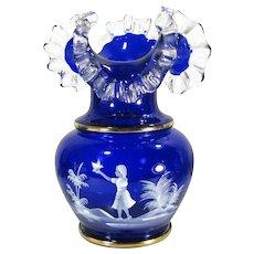 "Vintage MARY GREGORY Style Vase Enameled Cobalt Glass Girl and Bird Bohemian 10"" Large"