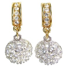 Vintage Signed Swarovski Rhinestone Earrings Gold Silver Tone Dangle Clip On
