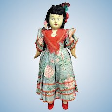 Vintage SPAIN CELLULOID DOLL Walker Composition Limbs Inset Glass Eyes Orig. 21""