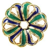 Vintage Crown Trifari Enamel Pin Floral Green Blue White Brooch Designer Signed