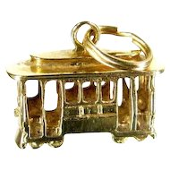 Vintage 14K TROLLEY TRAM Charm Detailed Yellow Gold Pendant