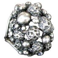 Vintage BEAU Sterling Ring Mod Ball Design MCM Adjustable Size 6 Silver
