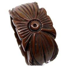"""Vintage FLORAL BAKELITE BANGLE Bracelet Deeply Carved Chocolate Brown 1.25"""" Ex"""