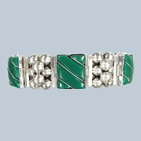 "Vtg MEXICAN GREEN ONYX Sterling Bracelet Mexico Silver Ball Link Bracelet 7 1/2"""
