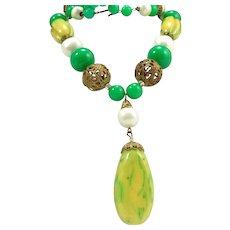 Vintage Carved Bakelite Filigree Faux Pearl Jade Bead Statement Necklace
