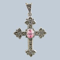 VICTORIAN REVIVAL CROSS Sterling Marcasite Pink Stone October Birthstone