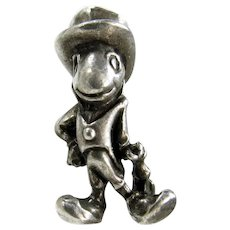 Sterling Disney Jiminy Cricket Pinocchio Charm 1940's Silver Pendant
