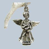 Hayward Sterling June Angel Charm Rose Flower Silver Pendant