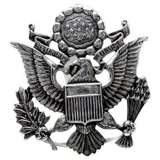 Vintage US Army Eagle Officer Sterling Hat Badge Pin Back Sweetheart Pin