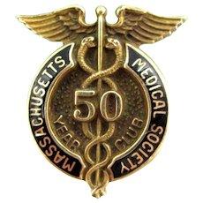 Vtg MASSACHUSETTS Medical Society 50 Year Club Service Pin GF Nursing Enamel