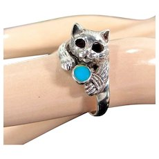Vintage STERLING CAT Turquoise Ball Ring Size 8 Marked 925 Silver
