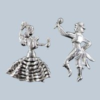 Vintage Mexican Sterling Flamenco Dancing Couple Dancers 2 Pin Set Mexico Silver