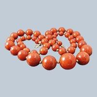 "Vintage BAKELITE BEAD NECKLACE 30"" Long Red Orange Marble Amber Beads 79 Gr"