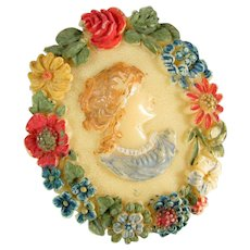 Vintage CELLULOID CAMEO Pin Molded Floral Pin Brooch