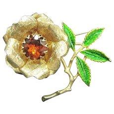 Vintage Sarah Coventry Floral Rhinestone Pin Enamel Leaves Figural Brooch
