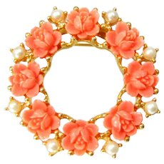 Vintage Faux Coral Rose Pin Faux Pearl Gold Tone Brooch