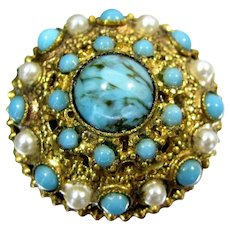 Vintage Faux TURQUOISE & Faux PEARL Pin Gold Tone Filigree Domed Brooch