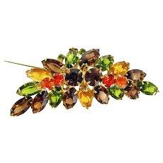 Vintage D&E JULIANA Rhinestone Pin Layered Leaf Autumn Fall Colors Brooch