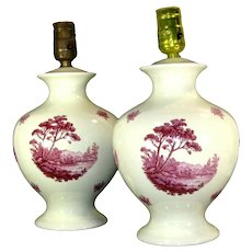 Vintage Hall China Co. Red Pink Transferware Lamp Pair Lamps