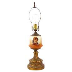 Vintage NAUTICAL SEAMAN Lamp Custard Glass Pipe Smoking Font