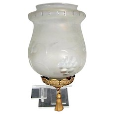 "Vtg FROSTED GRAPES GLASS SHADE Ceiling Light Lamp 4"" Fitter Gold Metal Tassel"