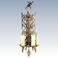 Vintage BRONZE GOTHIC CHANDELIER Small Brass Cut Out 5 Candle Ceiling Light Lamp
