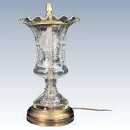 Antique COPPER WHEEL Engraved Glass Vase Lamp Mission Church Deer Stag Vintage