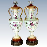 HP FLORAL Lamp Pair Porcelain Pale Green Pink Flowers Gold Trim Table Lamps