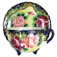 Vtg NIPPON ROSE FLORAL Cup & Saucer Flow Blue Hand Painted Pink Roses Gold Gilt
