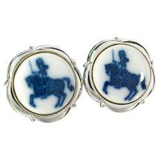 Vintage Royal Copenhagen Blue Knight Cufflinks Denmark Porcelain Sterling Silver