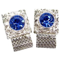 Vintage Swank Blue Rhinestone Cufflinks Silver Tone Wrap Cuff Links