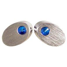 Vintage Sarah Coventry Cufflinks Silver Tone Blue Rivoli Rhinestone Cuff Links