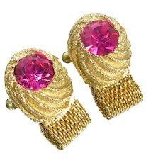 Vintage Swank Pink Rhinestone Cufflinks Gold Tone Wrap Cuff Links