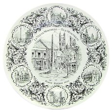 Vtg LE VIEUX (Old) MONTREAL Plate Wood & Sons Black Transferware Staffordshire