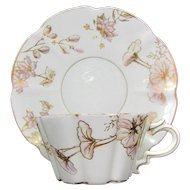 TV Limoges Cup & Saucer French Porcelain Morning Glory Floral Gold