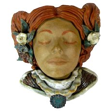 1979 RUSH Studio Art Pottery LADY Mask Terra Cotta Clay Wall Sculpture Vase 11""
