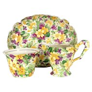 JAMES KENTON PRIMULA Chintz Creamer Sugar Bowl Yellow Violets Cream Pitcher