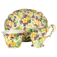 JAMES KENTON PRIMULA Chintz Creamer Sugar Bowl Yellow Violets Cream Pitcher