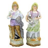 Victorian Fisherman And Lady Bisque Figurine Basket Of Fish Statue Pair