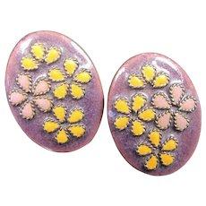 Vintage MID CENTURY MODERN Enamel Copper Earrings Purple Floral Clip