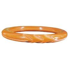 Vintage BAKELITE BANGLE Bracelet Deeply Carved Butterscotch Pumpkin