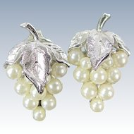 Vintage CROWN TRIFARI GRAPE CLUSTER Earrings Faux Pearl Clip On Designer Signed