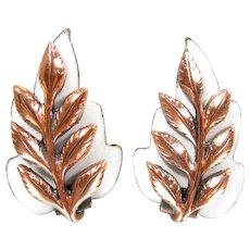 Vintage MATISSE RENOIR Copper Earrings White Enamel Leaf Design Clip On