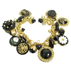 OOAK Artisan Charm Bracelet Antique Buttons Pietra Dura French Jet Necklace