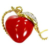 Vintage KJL Eve's Apple Red Lucite Swarovski Crystal Leaf Kenneth Lane