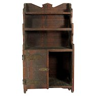 Antique PRIMITIVE WOOD WALL Shelf Cabinet Hammered Copper Hinge Small Doll Toy
