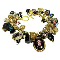 OOAK Artisan Chunky Charm Bracelet Vintage Heart Enamel Rose Mosaic Rhinestone