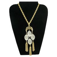 Vintage Crown Trifari Lucite Bead Tassel Necklace Gold Tone Statement Pendant