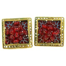 Vintage FREIRICH Red Ball Clip On Earrings Gold Tone Shadowbox Blue Wired